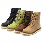 US5-8 Fashion real Leather Mid-Calf Lace Up Martin Boots womens round toe shoes