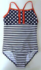 GIRLS NAVY/RED/WHITE STRIPED POLKA DOT FRILLY SWIMSUIT -12-18 MTHS to 12 YRS NEW