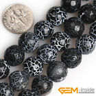 Round Faceted Frost Black Agate Jewelry Making loose gemstone beads strand 15""