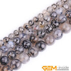 Black Dragon Veins Agate Gemstone Round Beads For Jewelry Making 6mm 8mm 10mm