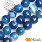 Round Faceted Banded Blue agate Jewelry Making loose gemstone beads strand 15""