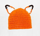 Fox Ears Hat, What Does the Fox Say? Orange Knit / Crochet Beanie baby-adult