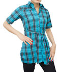 Ladies Indian Kurta Tops-Short Sleeve Blue/Black Tartan Style Kurti-7390