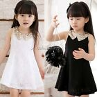 Kid's Girls Lovely Sequins Collar Sleeveless Lace Vest Skirt Princess Dress ItS7