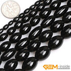 Natural Black Onyx Agate Gemstone Olivary Rice Loose Beads For Jewelry Making