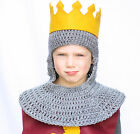 Knight Hood Chainmail Hat, Gray Knit / Crochet Medieval Beanie baby - adult