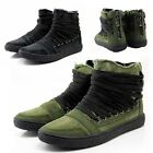New Men Lace Up Black/Green Canvas Zip Boots Sneakers Loafers Shoes UK Sz 6-9.5