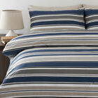 Striped LIAM  NAVY BLUE Quilt / Doona Cover Set  250TC Percale NEW