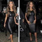 Womens Faux Leather Bodycon Cap Sleeve Wet Look Midi Pencil Stretch Party Dress