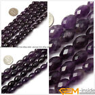 "Olivary Faced Amethyst Jewelry Making loose gemstone beads strand 15"" yao-bye"