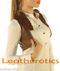 Ruffled Antique Brown Real leather waistcoat vest sleeveless Steampunk Bolero