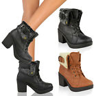 LADIES WOMENS MID BLOCK HEEL FUR LINED ARMY COMBAT WINTER ANKLE BOOTS SHOES SIZE