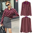 Women Heart Print Lapel Button T Shirt Tops Blouse Long Sleeve Chiffon Red N98B