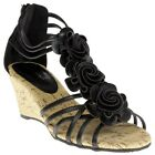 New Womens SOLESISTER Black Carissa Synthetic Sandals Wedge Slip On