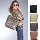 US STOCK Women's Big Jacquard Chain Shoulder Tote Purse Handbag Square Bag