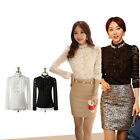 New Elegant Women Lace Shirt Beading Stand Collar Long Sleeve Slim Basic Tops