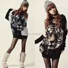 ItS7Women Tiger Printed Batwing Knitted Tops Long Sleeve Pullover Sweater Jumper