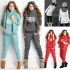 Womens Cotton Hoodies Coat+Vest+Pants Lounge Sweat Suit Tracksuit Leopard