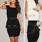 New Womens Party peplum Evening Wear to Work Casual Black Mini Beach Dress ItS7