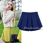 New Ladies Candy High Waist Pleated Chiffon A-Line Casual Skirt Shorts Culotte