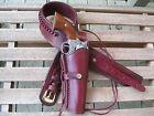 """Gun Belt w 8"""" to 10"""" Smooth Holster Combo -.45 Cal - Wine - Leather - 32"""" to 52"""""""