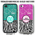 LOVE INFINITY TEAL PINK BLACK ZEBRA PRINT MONOGRAM CASE FOR IPHONE X 8 7 6S SE 5