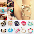 Fashion Womens Girls Vintage Owl Beaded Flower Bracelet Bangle Jewelry 60 Styles