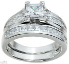 925 Sterling Silver Princess Cut CZ Engagement Wedding Bridal Ring Set 5-9