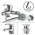 Chrome Bathroom Tap Set Bath Filler Shower Mixer Mono Basin Taps & Waste