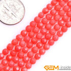 "Pink Coral Gemstone Faceted Round Beads For Jewelry Making 15 "" 4mm 5mm 6mm"