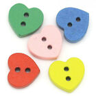 20 or 40 small wooden heart shaped buttons scrapbooking cardmaking sewing UK