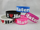 1PC I Love Haters Bracelet Silicone Promotion Gift Filled in Color Wristband