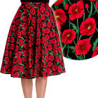 Hell Bunny Poppy Floral Circle Skirt Rockabilly Pin Up Retro Swing Vintage Full