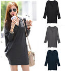 Sexy Women Casual Batwing Long Sleeve V-Neck Tops T-Shirt Mini Dress