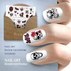 Funny Skull Pattern Nail Art Nail Decals Water Transfer Stickers Decoration-080