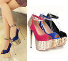 Ladies Peep Toe Metallic Spike Punk Ankle Strap High Heeled Court Shoes 8-136