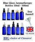 Cobalt Blue Glass Aromatherapy Bottle All Sizes HUGE Choice of Lids  FREE FUNNEL