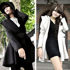 Womens Fall Slim Hooded Trench Coat Long Pleated Outerwear Hoodie Jacket Parka