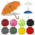 CLASSIC Umbrella with WOODEN Crook Handle - AUTOMATIC Wedding Brolly Walking