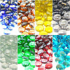 MIXED COLOUR Round Glass Pebbles Stones Nuggets Beads Button Lots Quantities NEW