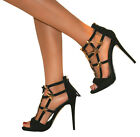 WOMENS BLACK GOLD GLADIATOR HIGH STILETTO HEEL PEEP TOE SANDALS SHOES SIZE PROM