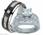His and Hers Wedding Rings 925 Sterling Silver & Titantium Wedding Ring Set