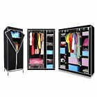 BLACK 3 STYLES CANVAS WARDROBE WITH HANGING RAIL HOME FURNITURE STORAGE