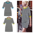 Black and white Stripe womens Half Rolled up Sleeve slim fitted Mini dress