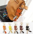 NEW A262 Italian Cow Leather Cat Tassel Bag Charm Gold Key Ring Key Finder Chain