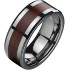 8MM Tungsten Carbide Ring Band Red Wood Inlay SZ 7 8 9 10 11 12 13 14 15 Wedding
