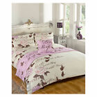 Butterfly Rose Complete Bed in Bag Set – Cream & Lilac Duvet Cover Bedding Set