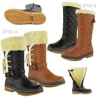 WOMENS LADIES FLAT CALF KNEE HIGH QUILTED FUR LINED WINTER SNOW BOOTS SHOES SIZE