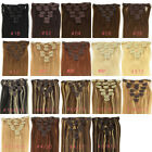 "EASY Clip In 100% Remy Human Hair Extensions Full Head 8Pcs 21Colors 16""-24"""