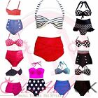 UK Vintage Retro High Waist Halterneck Style Bikini Set Beach Swimwear Padded